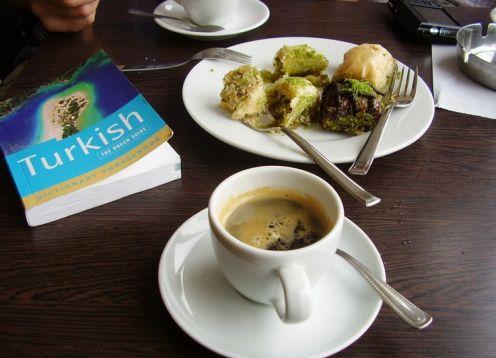 Food coffee and baklava